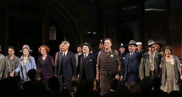 "NEW YORK, NY - OCTOBER 20: John Magaro, Holland Taylor, Sherie Rene Scott, John Slattery, Nathan Lane, John Goodman, David Pittu and Patricia Conolly with cast during the Broadway Opening Night performance curtain call bows for ""The Front Page"" at the Broadhurst Theatre on October 20, 2016 in New York City. (Photo by Walter McBride/WireImage)"